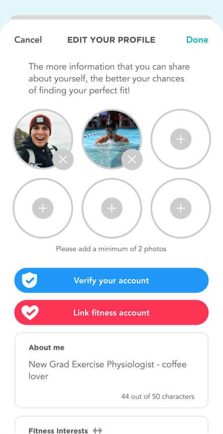 Fitafy App - Edit Profile 1 Screenshot