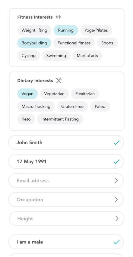 Fitafy App - Edit Profile Screenshot